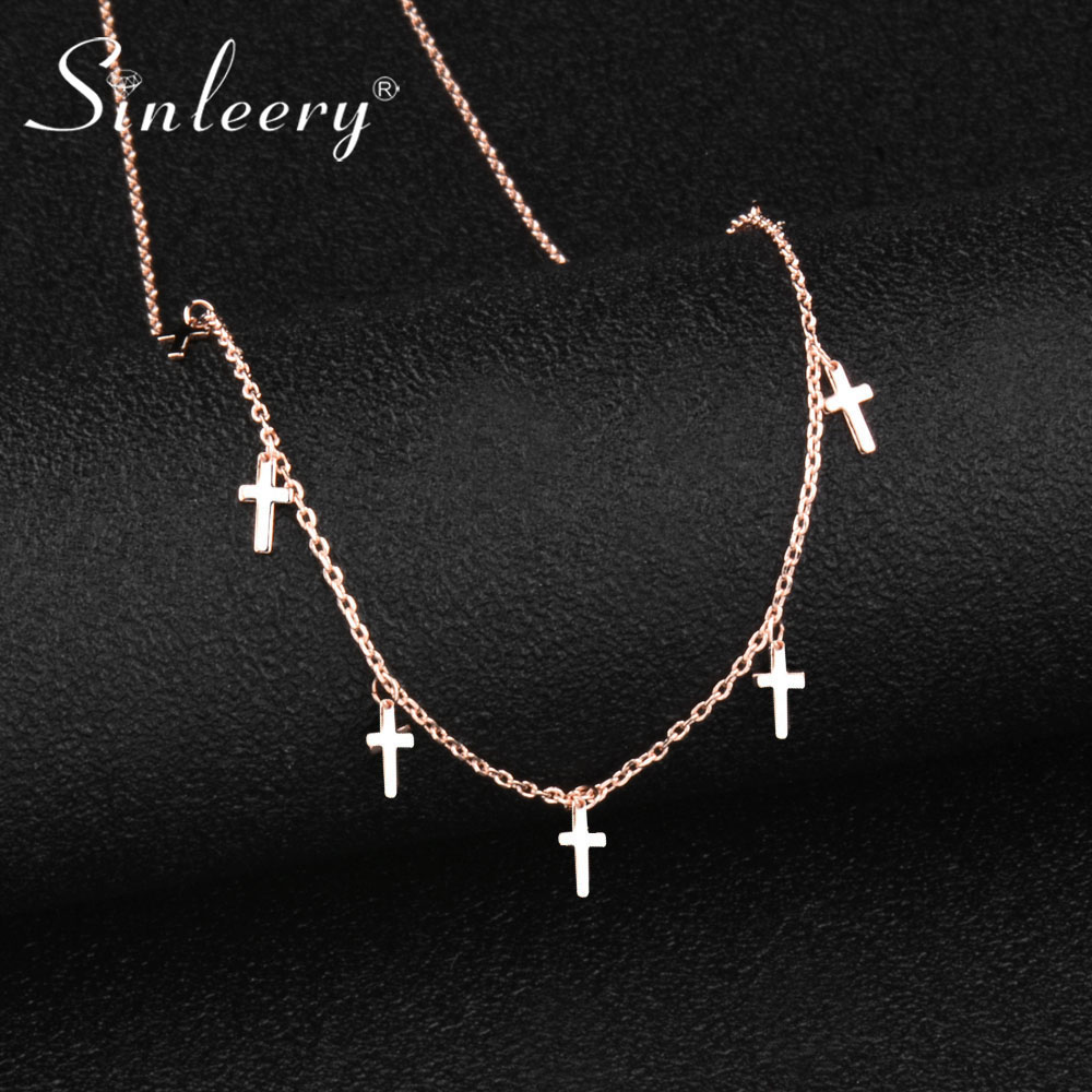 SINLEERY Simple Silver/Rose Gold Color Small Cross Choker Necklace&Pendant Fashion Jewelry Wedding Party Xl374 SSC