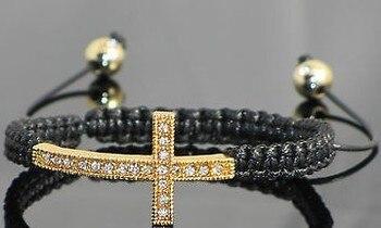 ¡Nueva llegada! Mujeres micro pave CZ Disco Cruz cristal pulsera fasion regalo joyas descuento. crystal