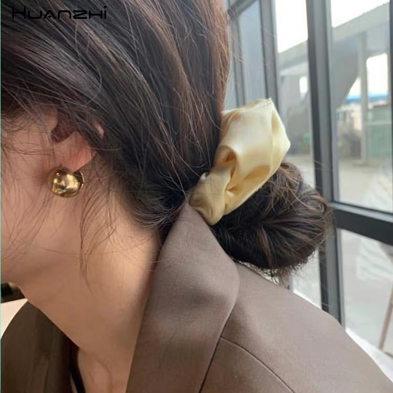 HUANZHI 2019 Vintage Ribbon Silk Elastic Hair Rubber Bands Ponytail Holder Hair Rope Hair Accessories For Women Girl Wedding