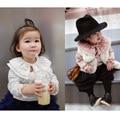2016 Primavera Nuevas Chicas de Ocio Loto Festoneado Collar de Bronceado de Crepé de Algodón Cuello de la Camisa de Manga Larga Bebé