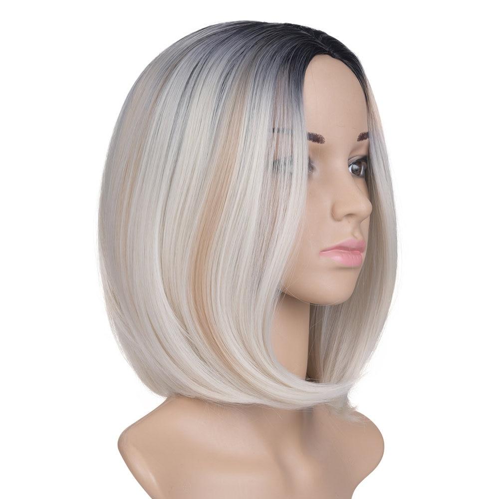 Feilimei Full Head Ombre Blond Peruka Short Straight Gradient 10 inch 160g Kolorowe żaroodporne włosy syntetyczne Czarne peruki Cosplay