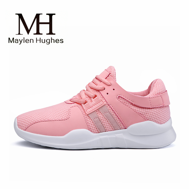 2018 white pink air mesh student breathable lace up outdoor women running shoes lightweight woman font