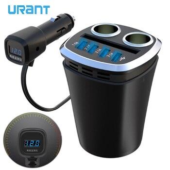 URANT cargador de coche Copa multifuncional soporte de teléfono encendedor de cigarrillos con 4 puertos USB adaptador de corriente de pantalla de voltaje