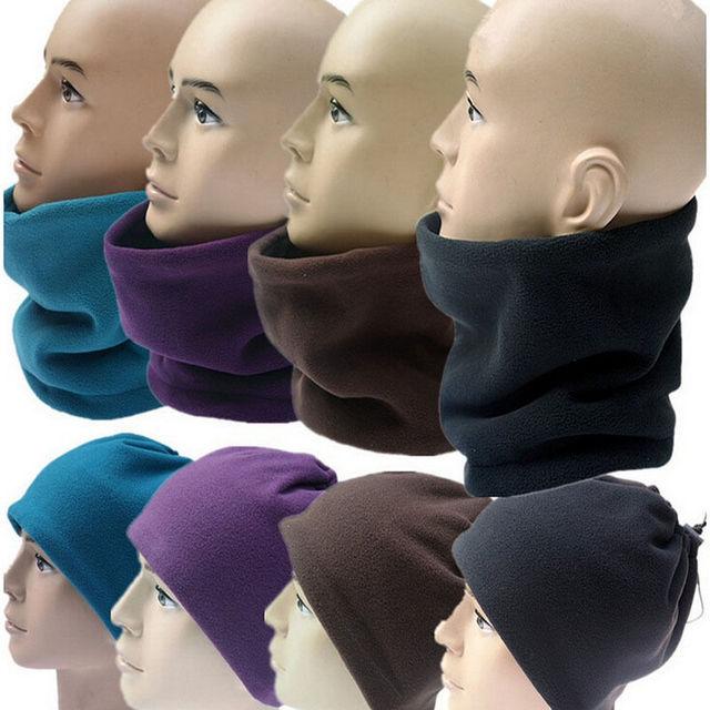 Unisex Polar Fleece Snood knitted Hats mask women men s winter knit cap  Neck Warmer Wear Wear Scarf Beanie Balaclava 4a25d0f0dfd4