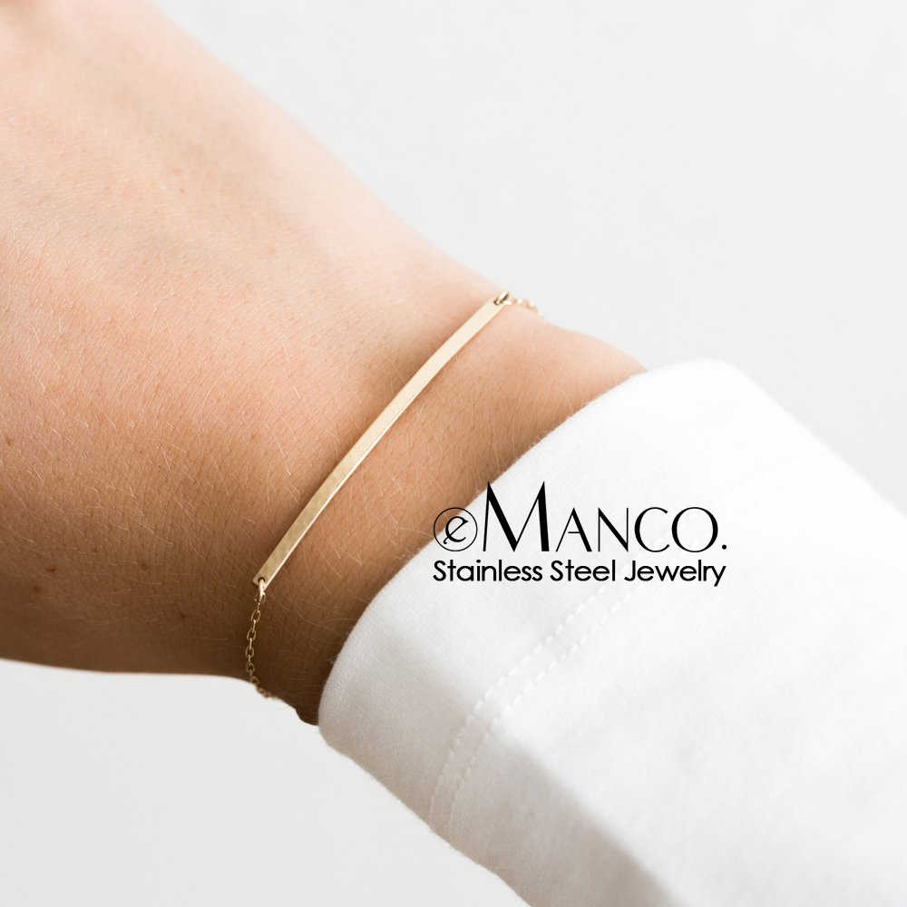 eManco Korean style women Thin Bracelets Simple Stainless Steel Bracelets for women Adjustable Length Friendship Bracelet