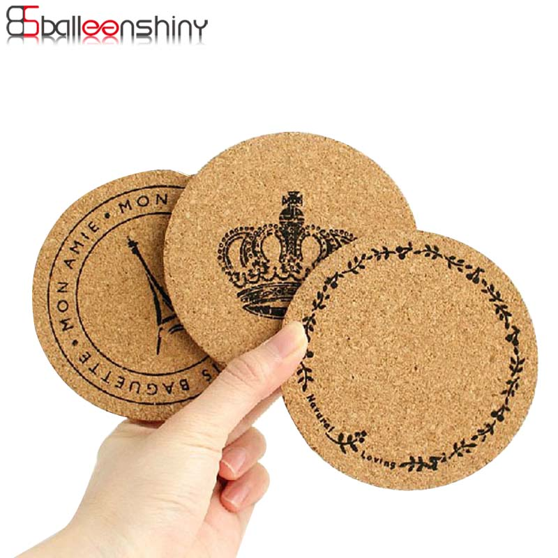 BalleenShiny 1 pc Table Cup Mat Placemat Retro Cork Drinks Coasters Tableware Holder Cup Pot Mat Table Decor S/M/L Size