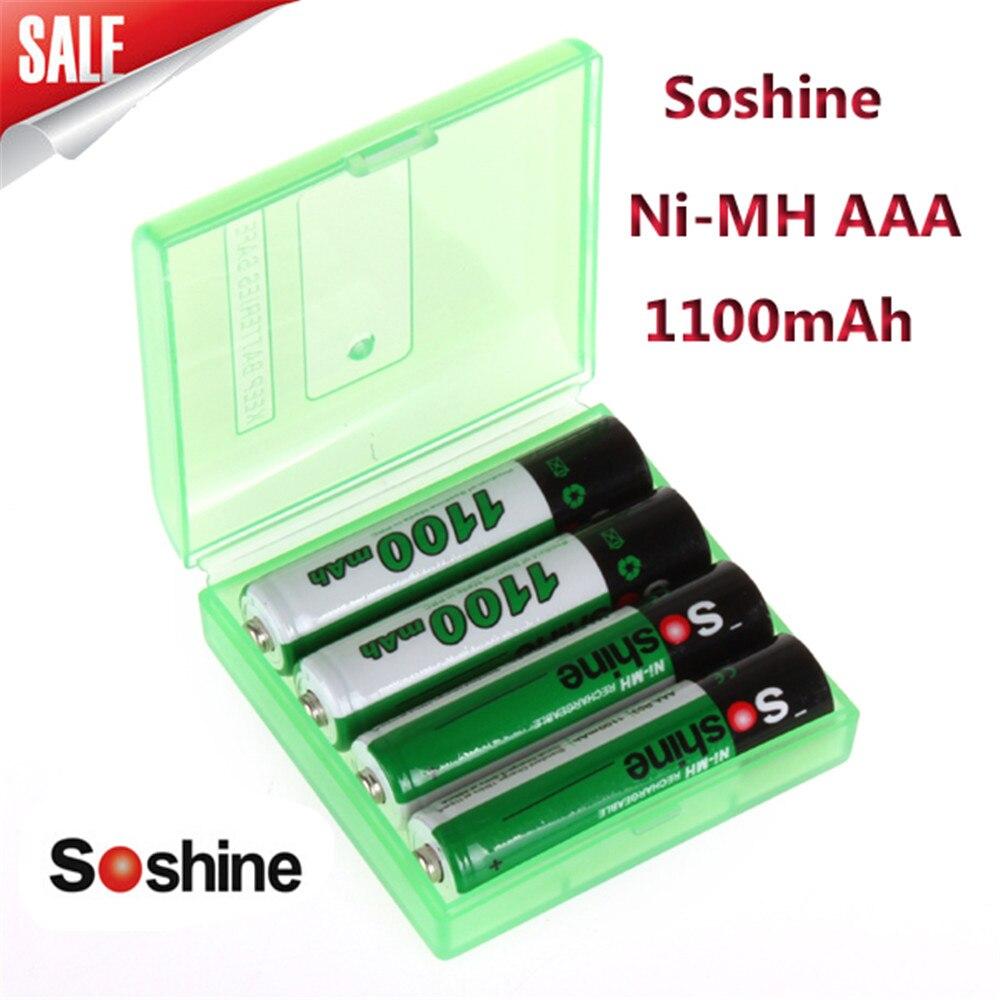 4pcs/pack Soshine Ni-MH AAA Battery 1100mAh Batteries Rechargeable Battery +Portable Battery Storage Box
