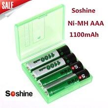 Bateria plus Carregador de Caixa 4 Unidades e pacote Soshine Ni-mh Bateria AAA 1100 MAH Baterias Recarregáveis DA de Portátil