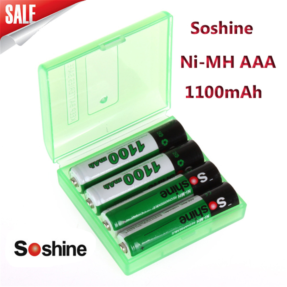 4pcs/pack Soshine Ni-MH AAA Battery 1100mAh Batteries bateria Rechargeable Battery +Portable Battery Storage Box