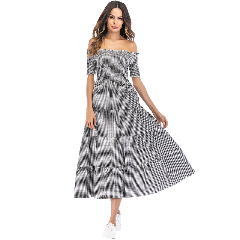 Plaid Checked Print Cotton Long Dress for Sexy Women Off Shoulder Elegant  Ruched Swing Maxi Dress Black Red Blue vestidos verano 9af8327cfb22