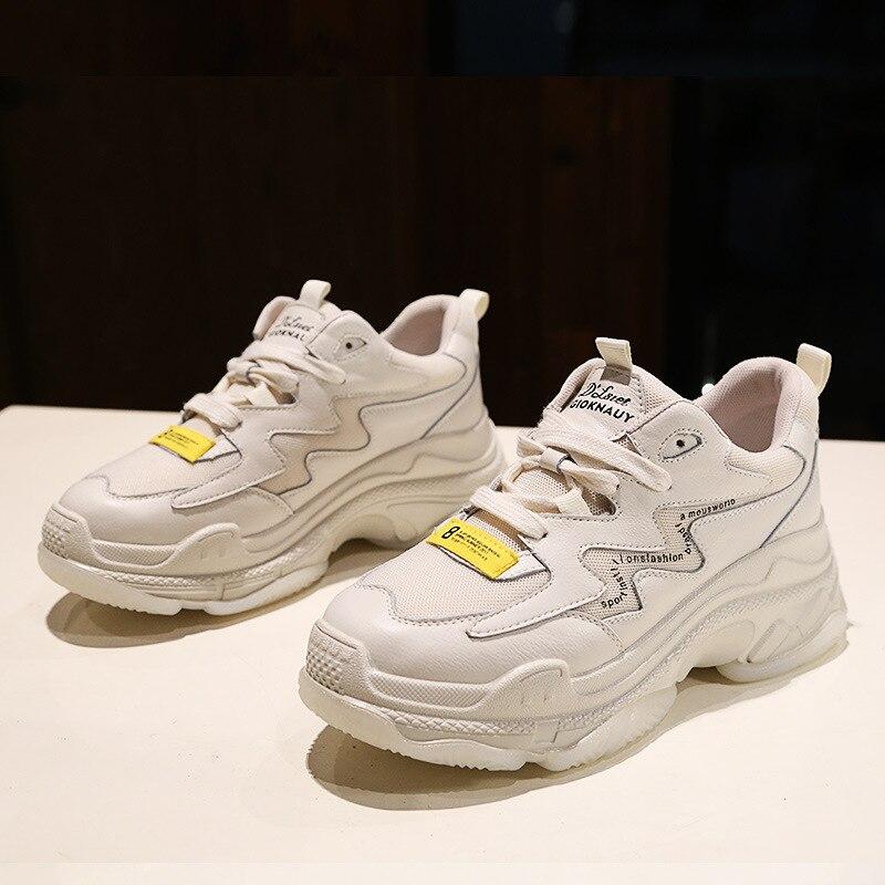 Femmes Mujer Beige De Casual Cuir Printemps Plate Zapatos Mode Blanc Véritable Nouvelles forme Dames En Femme blanc Chaussures Sneakers PZXiOku