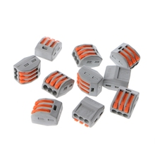 10 Pcs 3 Way Electric Cable Wire Connector Reusable Lever Terminal Block T15