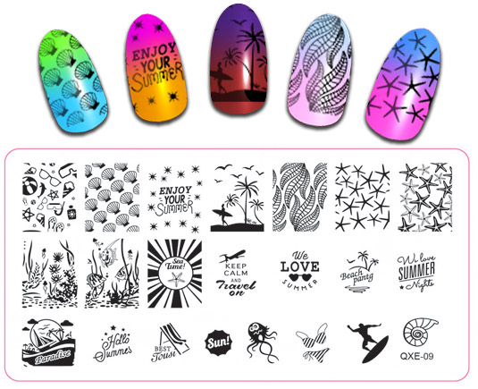 20 Designs Option Rectangle Stamping Plates Flower Starfish Lips Owl Pattern Image Stamp Template Plates Stencils QXE 1 20 in Nail Art Templates from Beauty Health