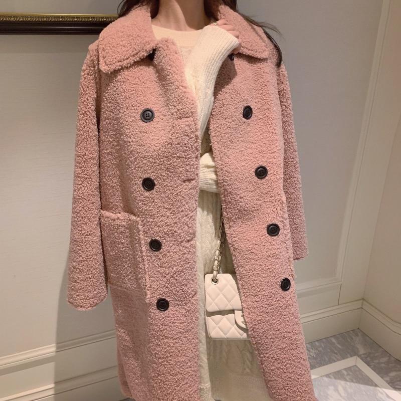 MUMUZI Faux Fur Warm Winter Coat Pink Women Fashion Sheepskin Cardigan Long Style Jacket Lady Coats Buttons Outwear