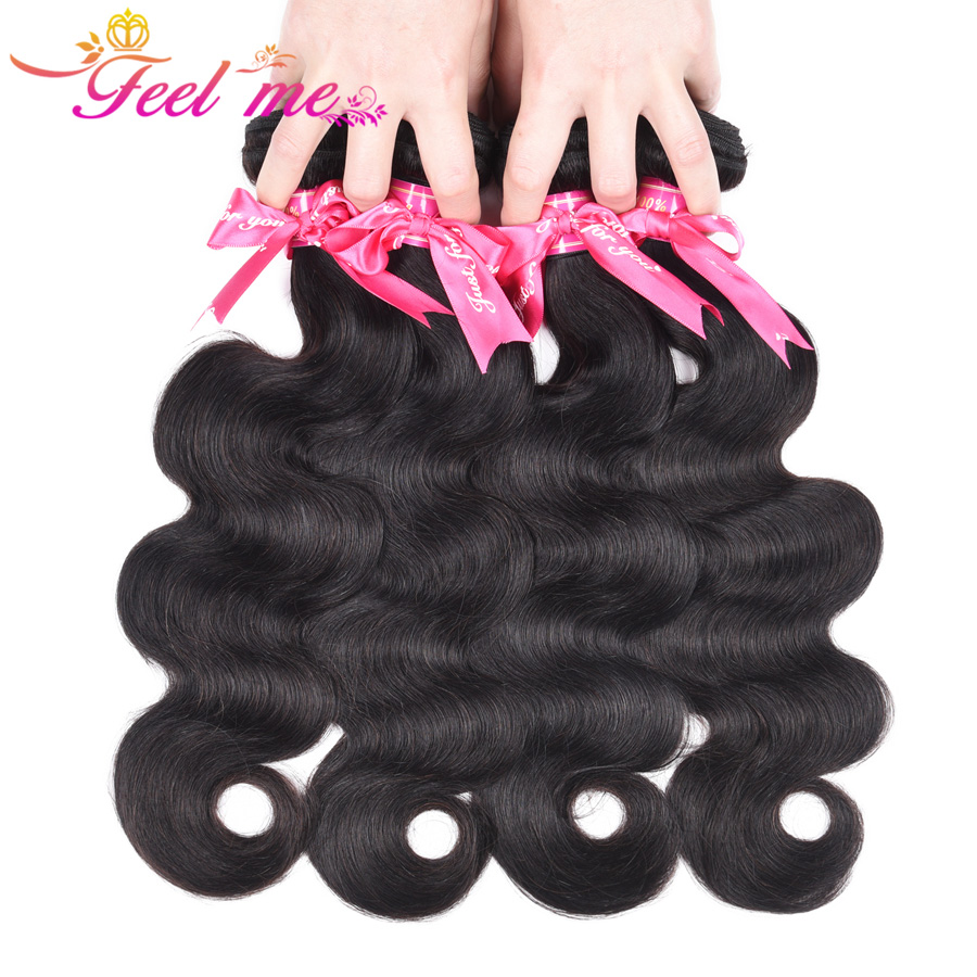 Feel Me Indian Hair Bundles One Piece Only Body Wave Human Hair Bundles 10-28 Inch in stock 100% Non-remy Hair
