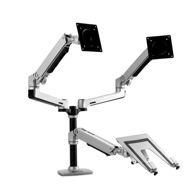 Bon Full Motion Height Adjustable Dual Monitor+Laptop Holder Desktop Mount  Adjust Arm Aluminum Alloy Universal Rotating Stand