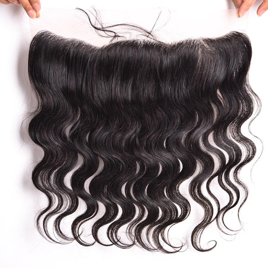 Wonder Girl 13x4 Brazilian Body Wave Snörning Frontal Closure With - Mänskligt hår (svart) - Foto 3