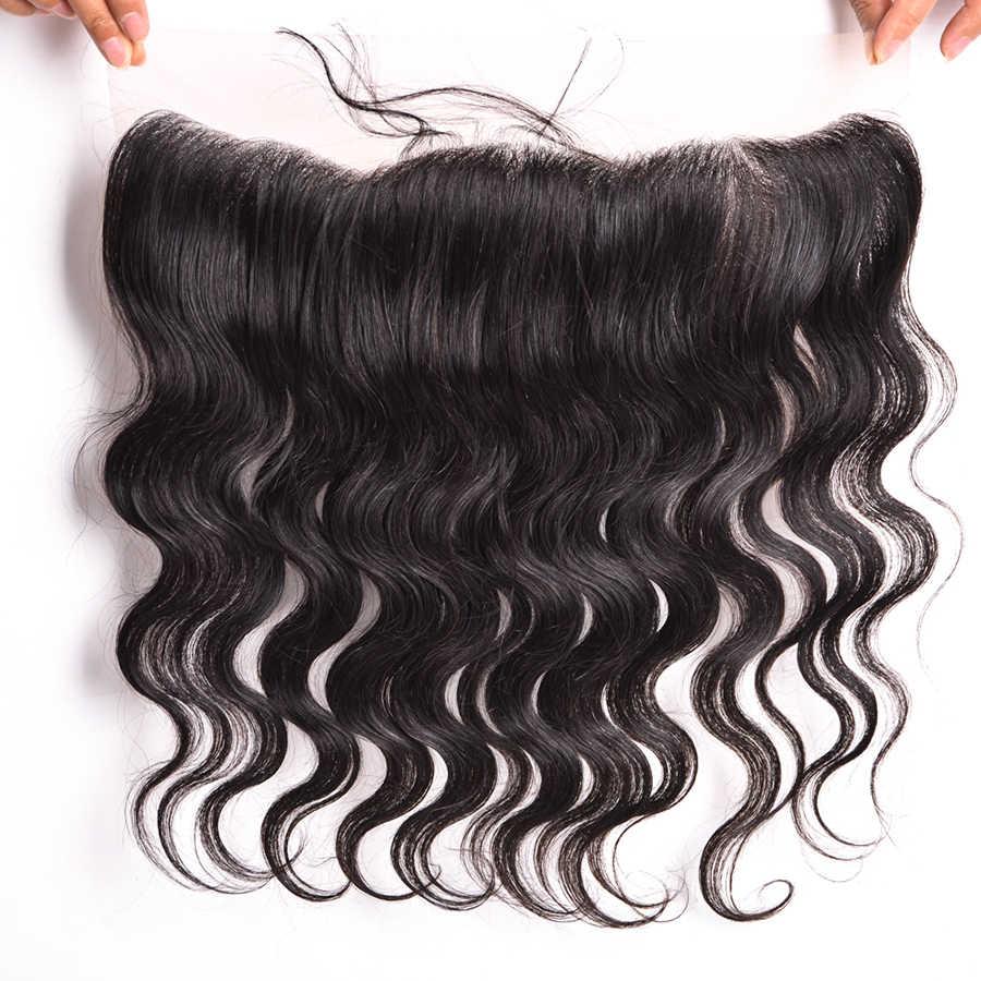 Wonder girl 13x4 бразильские волнистые кружевные фронтальные Закрытие с волосами младенца свободная часть человеческих волос лобные Пучки Волос Remy