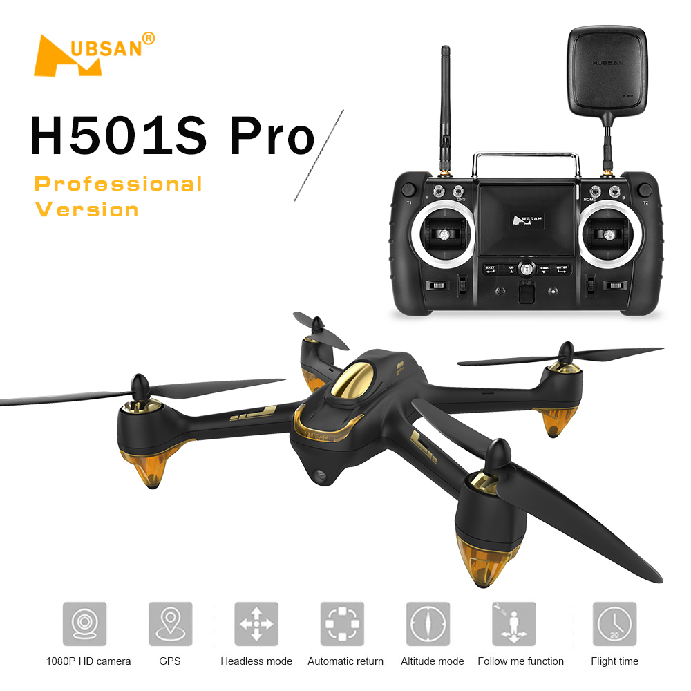 Original Hubsan H501S Pro X4 5.8G FPV Brushless Drone 1080P Camera 10 Channel Remote Control GPS Quadcopter Professional Drone цена 2017