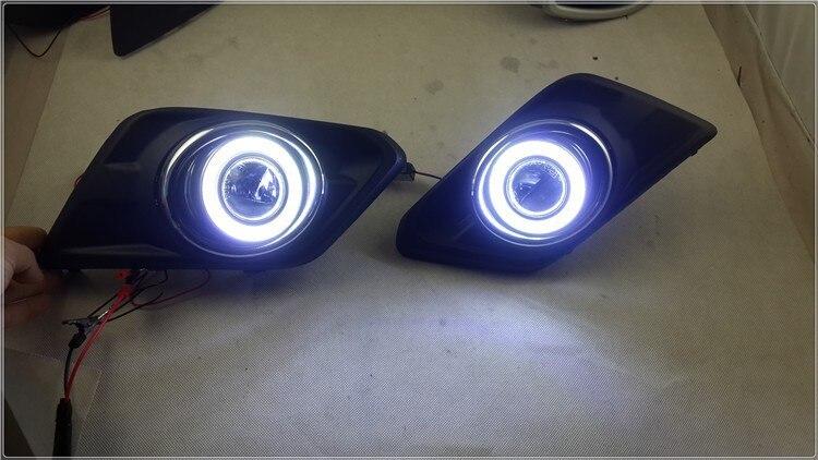 eOsuns COB angel eye led daytime running light DRL + halo Fog Light + Projector Lens for Nissan Rogue x-trail frontier 2014-16 ownsun innovative super cob fog light angel eye bumper cover for skoda fabia scout