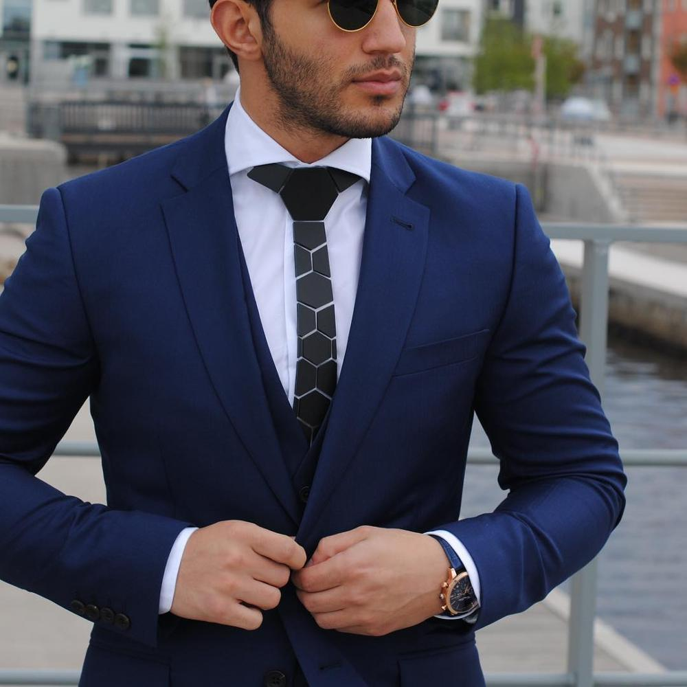 Chic noir mat hexagone cravates élégant hommes cravates 5 couleurs luxe Hexties 5cm boîte-cadeau robe formelle accessoire Design Unique - 3