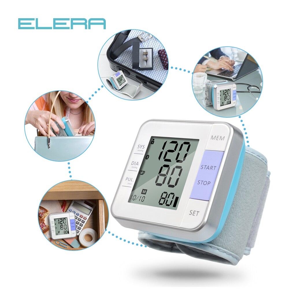 ELERA Digital Pressione Sanguigna del Polso Monitor Display LCD Portatile tonometro di misura bp di Battimento di Cuore Meter sfigmomanometro