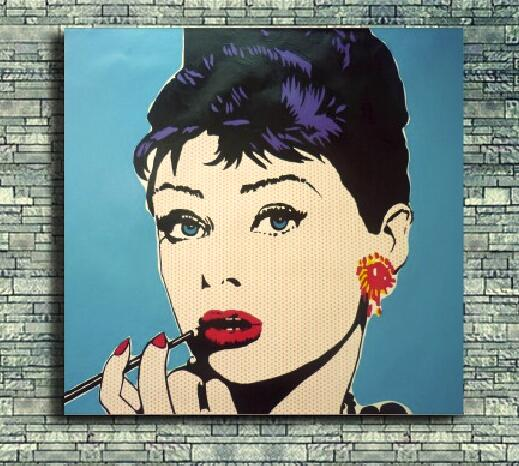 Free shipping Audrey Hepburn Pop art style Oil Painting On Canvas ...