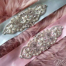 Wholesale rhinestone and pearl beaded lace applique for bridal sash wedding belt headpiece garters, 5 x13 cm