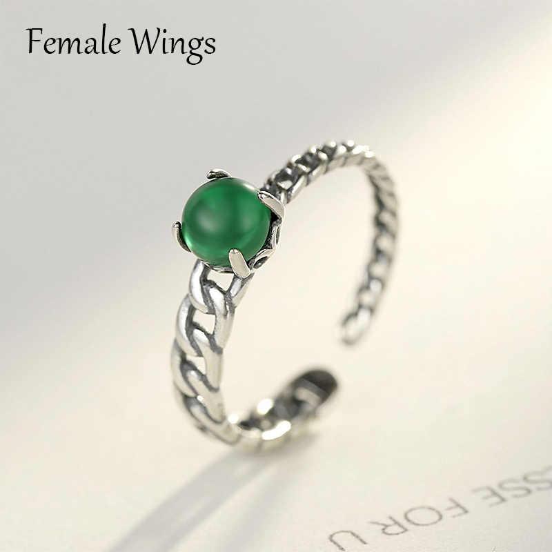 หญิงปีก 925 เงินสเตอร์ลิงเครื่องประดับสีเขียวหยกรอบแหวนหินสำหรับผู้หญิง Vintage สไตล์ชาติพันธุ์แหวนผู้หญิงเครื่องประดับ FR158