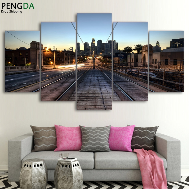 Canvas Wall Art HD Printed Painting Poster Framed 5 Pieces Railway Los Angeles Dusk Modular Pictures Home Decor Kids Room PENGDA