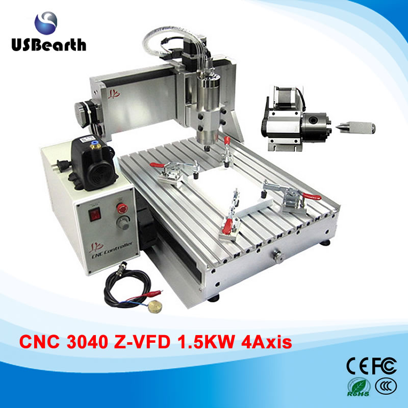 3D CNC router 3040 wood carving machine with 1500w water cooled spindle motor , no tax to Russia russia tax free cnc woodworking carving machine 4 axis cnc router 3040 z s with limit switch 1500w spindle for aluminum