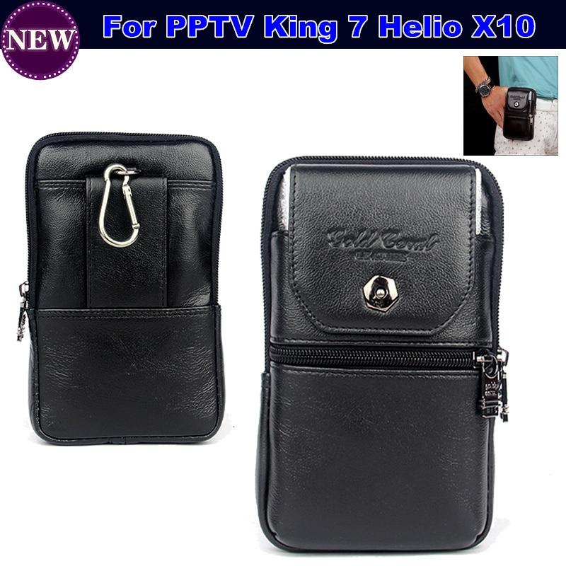 imágenes para Carry case bolsa de cinturón de clip monedero de la cintura de cuero genuino de lujo cubierta para pptv rey 7 helio x10 teléfono móvil del envío gratis