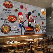 цены Custom wallpaper rock lobster seafood restaurant hot pot restaurant background wall painting advanced waterproof material