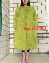 The new winter long paragraph Europe whole skin Beach wool coat female mongolia sheep fur coat overcoat outerwear jacket women