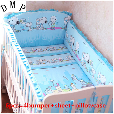 Promotion! 6PCS 100% cotton crib bedding kit baby bedding set baby care piece bedding (bumpers+sheet+pillow cover)