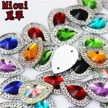 Micui 50 шт. 13*18 мм смешанные цвета капли смолы стразы кристаллы и камни бусины плоская задняя сторона швейные пуговицы для шитья на 2 отверстия MC36