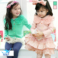 Hot! 2016 Latest Girl Baby Wide Collar Coat Chiffon Lace Cardigan High Quality Kids Infant Clothes Jacket Children's Clothing