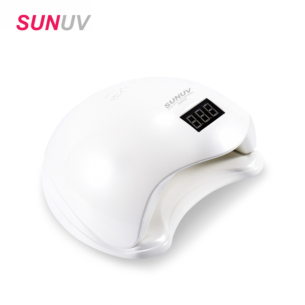 SUNUV SUN5 48W Nail Dryer White Dual UV LED Nail Lamp Nail Dryer Gel Polish Curing Light with Bottom 30s/60s Timer LCD display sunuv 6w uv led lamp nail dryer white