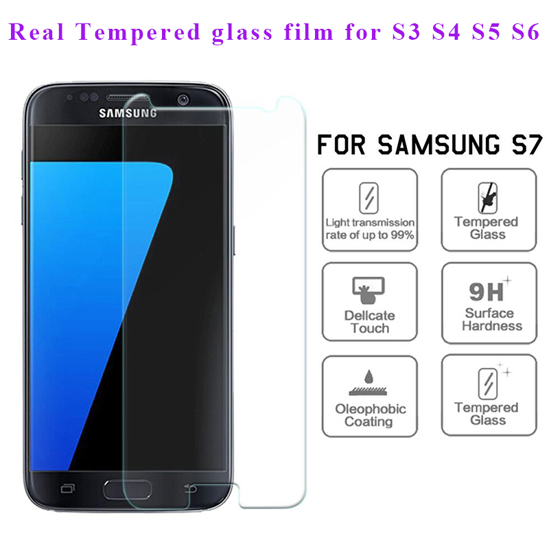 On sale 1 piece front screen protective glass film for samsung S3 S4 S5 S6 S7 S4 Mini S5 MINI 2015 A3 A5 J1 J2 J3 J5 J7 Glass