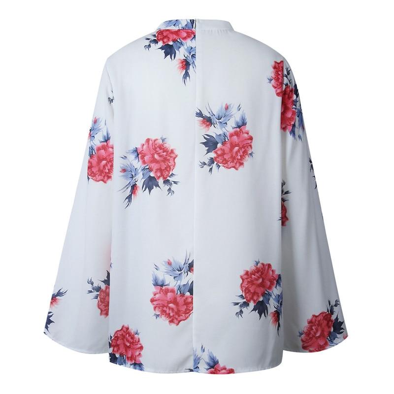 La Blusa Choker Impresión Floral Nueva Criss Ropa cross Causal cuello Largo Outwear Manera De Llegada Mujeres Camisa V Manga Flare TxEqSv