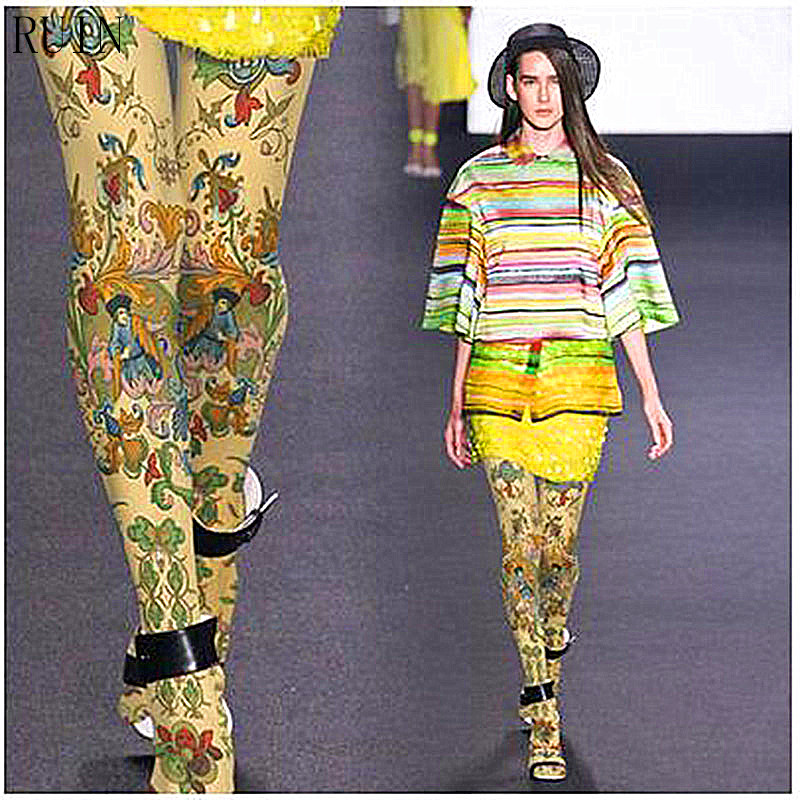 RUIN Women's Tights Persian Ethnic Exotic Style Pantyhose Female Girl Tights 140D
