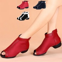 Spring Summer Mesh Square Shoes Women Leather Shoes Female Modern Dance Jazz Dance Shoes Breathable Soft