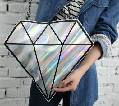 ФОТО Harajuku hologram 3D hologram Diamond shape day Clutch women messenger bags chain hologram handbags