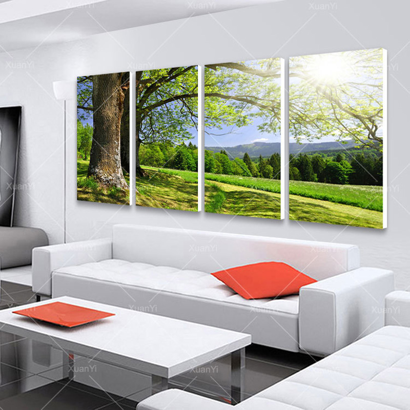 4 Panel Modern Abstract Printed Tree Painting Picture Cuadros Wall Art Landscape Canvas Painting For Living Room No Framed PR150
