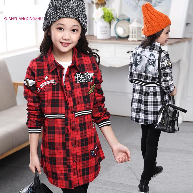 Brands Plaid Shirt Child 6-14 Years Baby Blouse Girl Winter Shirts For Girls School Clothes For Girls Blusas Camisa Xadrez 297 girl