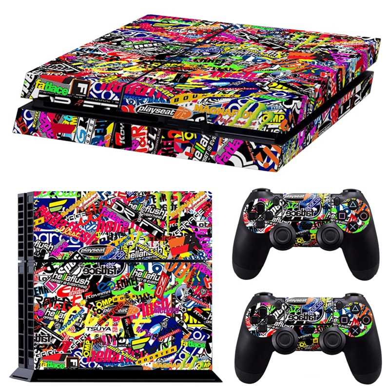 Colorful Vinyl Decal Skin Sticker For PS4 Playstation 4 Console & 2 Controllers