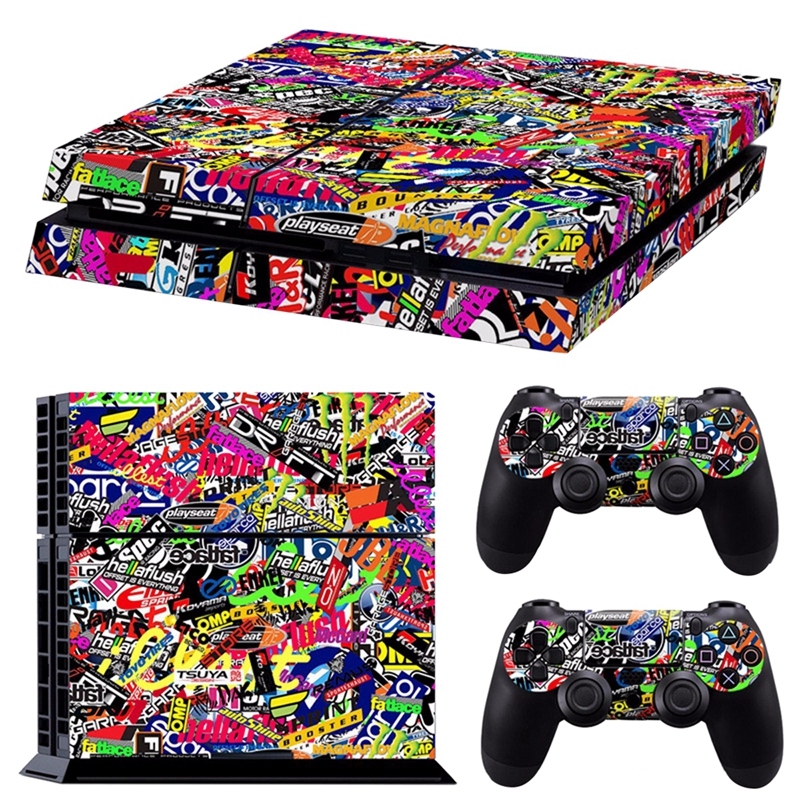 Colorful Vinyl Decal Skin Sticker For PS4 Playstation 4 Console & 2 Controllers image