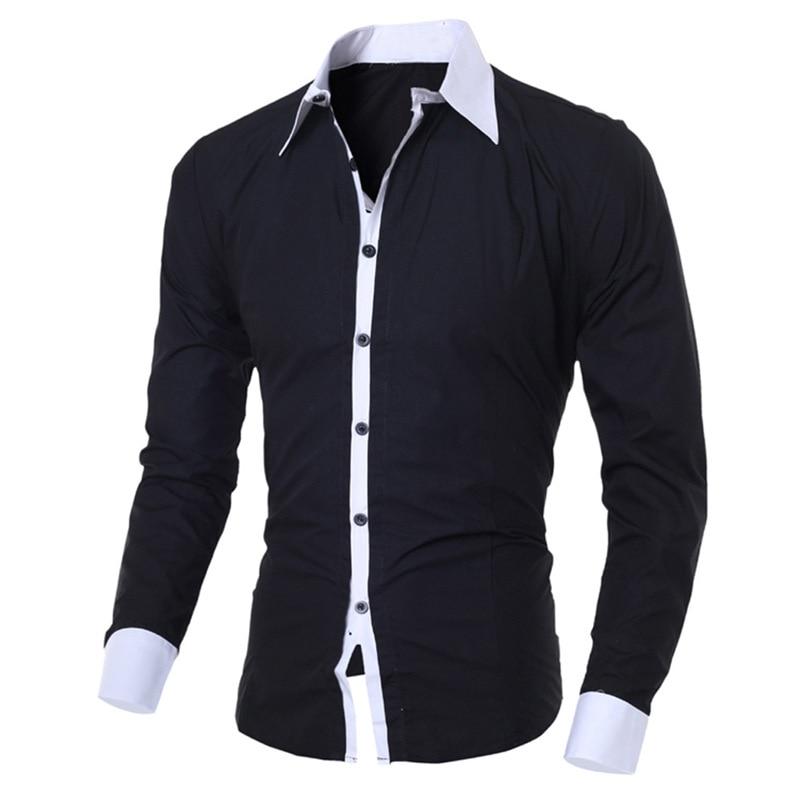 2018 shirt Men Summer Brand Personality Long Sleeve Slim Fit Male Basic T Shirt Blouse Top Size M-XL camisa masculina #FM21 (9)