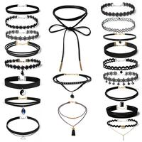Starry-styling 20 Pieces Choker Necklace Set Stretch Velvet Classic Gothic Tattoo Lace Choker ap19