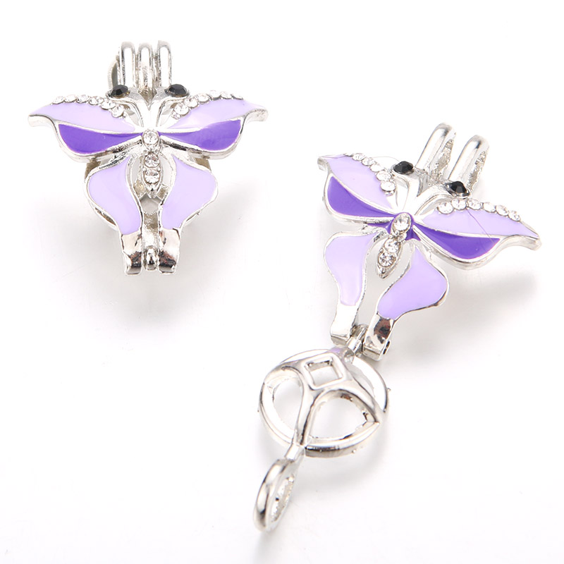 5X-K681 Silver Pearl Cage Butterfly Charm Aroma Diffuser Locket